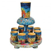 8 Cup Wood Yair Emanuel Kiddush Fountain with Jerusalem