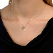 14K Gold Diamond Whole Bible Nano Jewelry Square Pendant