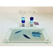 Glass Ball Shabbat Candlesticks and Tray Blue Tulip Design