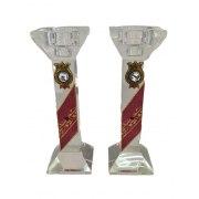 Tall Maroon Glass Shabbat Candlesticks with Pomegranate Ornaments