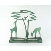 Shraga Landesman Green Gazelle and Acacia Tree Hanukkah Menorah