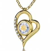 14K Gold Zirconia And Diamonds Heart With Shema Yisrael And Star Of David Nano Jewelry