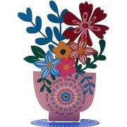 Dorit Judaica Metal Cutout Flowers In Vase Home Blessing