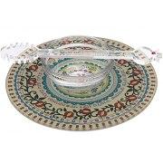 Dorit Judaica Colorful Pomegranate Mandala Base Glass Honey Dish
