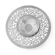Dorit Judaica Silver Pomegranate Metal Cutout And Glass Honey Dish