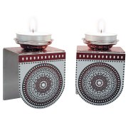 Dorit Judaica Maroon Mandala Candlesticks