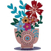 Dorit Judaica Metal Cutout Flowers In Vase English Home Blessing