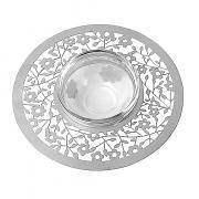 Dorit Judaica Silver Flowers Metal Cutout And Glass Honey Dish