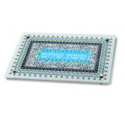 Dorit Judaica Pomegranate Rectangle Pattern Glass Challah Board