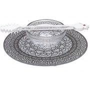 Dorit Judaica Gray Mandala Base Glass Honey Dish