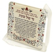 Dorit Judaica Candle Lighting Blessing Plaque Pomegranates