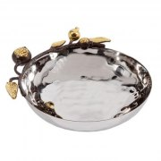 Yair Emanuel Medium Round Stainless Steel Bowl With Pomegranate Branch