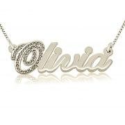 14K White Gold And Diamonds Cursive English Name Necklace