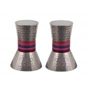 Yair Emanuel Short Tapered Candlesticks with Maroon Rings