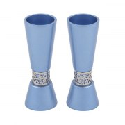 Yair Emanuel Blue Tapered Candlesticks with Pomegranates Cutout Theme