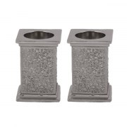 Hammered Aluminum Candlesticks with Pomegranate Cutout Theme