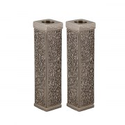 Yair Emanuel Hammered Tall Square Candlesticks with Pomegranate Cutout Theme