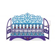 Dorit Judaica Hanukkah Oil Menorah Blue Laser Window Cutout