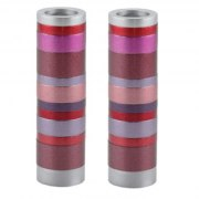 Shabbat Candlesticks Maroon Stripes Cylinders by Yair Emanuel
