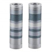 Shabbat Candlesticks Gray Stripes Cylinders by Yair Emanuel