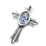Sterling Silver Cross with Round Roman Glass