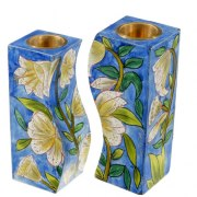 Wood Curved Candlesticks White Flowers