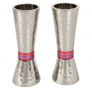 Yair Emanuel Tapered Hammered Candlesticks with Maroon Rings
