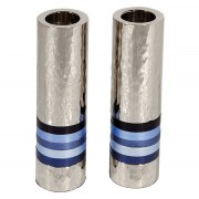 Yair Emanuel Cylinder Shabbat Candlesticks with Blue Rings