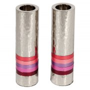 Yair Emanuel Cylinder Shabbat Candlesticks with Maroon Rings