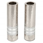Yair Emanuel Cylinder Shabbat Candlesticks with Silver Rings