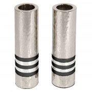 Yair Emanuel Cylinder Shabbat Candlesticks with Black Rings