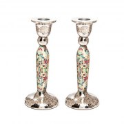Yair Emanuel Tall Shabbat Candlesticks With Multicolor Diamonds