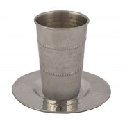Yair Emanuel hammered Stainless Steel Kiddush Cup with Decoration Lines
