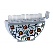 Dorit Judaica Hanukkah Oil Menorah Pomegranate Design