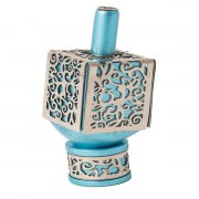 Turquoise Aluminium Dreidel with Cutout pomegranate Theme
