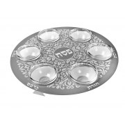Stainless Steel Floral Round Seder Plate by Dorit Judaica