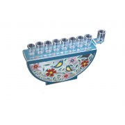 Dorit Judaica Hanukkah Oil Menorah Flowers and Birds Design