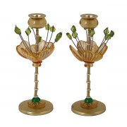Yair Emanuel Green and Yellow Candlesticks Fountain Design