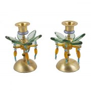 Yair Emanuel Orange and Violet Candlesticks Flower Design