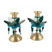 Yair Emanuel Turquoise Candlesticks Flower Design