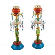 Yair Emanuel Orange and Green Candlesticks Beads and Flowers Design