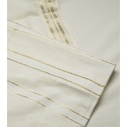 Talitania Carmel Wool Tallit Prayer Shawl with Gold and White Stripes