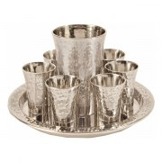Yair Emanuel Kiddush Cup Set Hammered Texture