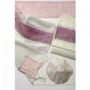 Tallit Prayer Shawl Silk With Pink Flower Panel
