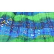 Galilee Silks Wool Tallit with Silk Jerusalem in Blue Stripe
