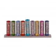Yair Emanuel Colorful Cylinders Hanukkah Menorah