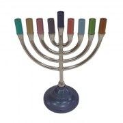 Yair Emanuel Classic Pewter Multicolor Hanukkah Menorah