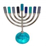 Yair Emanuel Classic Pewter Blue Hanukkah Menorah