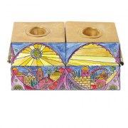 Yair Emanuel 2 in 1 Menorah and Shabbat Candles set Jerusalem Oriental Design