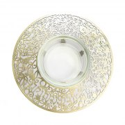 Yair Emanuel Pomegranate Brass Metal Cutout And Glass Honey Dish